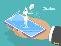 Conceito isométrico liso do vetor do chatbot do apoio ao cliente Ilustração Royalty Free