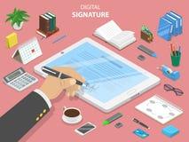 Conceito isométrico liso do vetor da assinatura digital ilustração do vetor