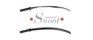 Conceito japonês da cultura do projeto do guerreiro da espada do samurai no fundo branco Foto de Stock Royalty Free