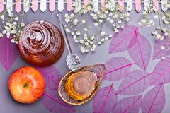 Conceito judaico, mel e maçã do ano novo de Rosh Hashanah Fotografia de Stock Royalty Free