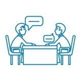 Conceito linear do ícone da conversação do negócio Linha sinal da conversação do negócio do vetor, símbolo, ilustração ilustração do vetor