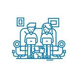 Conceito linear do ícone do home entertainment Linha sinal do home entertainment do vetor, símbolo, ilustração ilustração do vetor