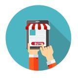 Conceito liso da compra em linha para Apps móvel Foto de Stock Royalty Free