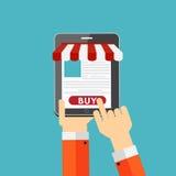 Conceito liso da compra em linha para Apps móvel Fotos de Stock
