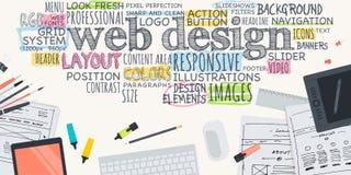 Conceito liso da ilustração do projeto para o design web Imagens de Stock Royalty Free