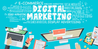 Conceito liso da ilustração do projeto para o mercado digital ilustração stock