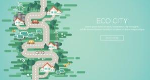 Conceito liso da ilustração do vetor do projeto da ecologia Imagem de Stock Royalty Free
