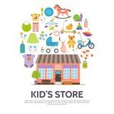 Conceito liso da loja das crianças ilustração royalty free
