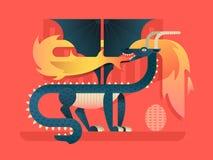 Conceito liso do dragão Imagens de Stock