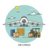 Conceito liso do esboço do avião do frete Logística global do transporte do avião de carga Transporte pelo ar ilustração do vetor