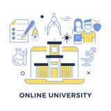 Conceito liso do vetor do esboço da universidade em linha ilustração royalty free