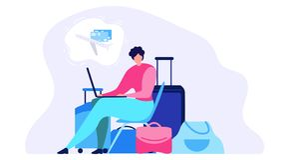 Conceito liso em linha pedindo do vetor do bilhete de avião ilustração royalty free