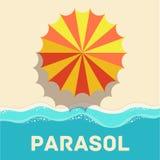 Conceito liso retro do ícone do parasol Vetor ilustração royalty free