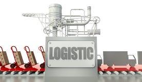 Conceito logístico, caixas de cartão e caminhões ilustração do vetor