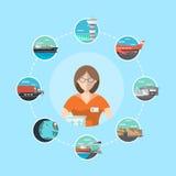 Conceito logístico da gestão com operador do serviço Fotografia de Stock