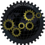 Conceito logístico da rede da engrenagem de cadeia de aprovisionamento com globo Fotografia de Stock Royalty Free