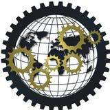 Conceito logístico da rede da engrenagem de cadeia de aprovisionamento com globo Imagens de Stock Royalty Free