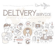 Conceito logístico do esboço com o comércio do transporte e do transporte decorativo Fotografia de Stock