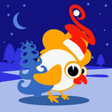 Conceito lunar do pássaro da galinha chinesa nova do ano 2017 do galo Arquivo do Grunge organizado nas camadas para a edição fáci Imagens de Stock