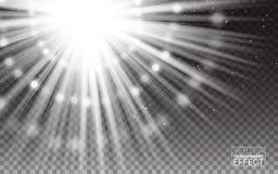 Conceito mágico Ilustração branca do sumário do alargamento da luz dos raios do efeito Os elementos realísticos do projeto isolar Imagens de Stock