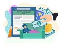 Conceito médico do crédito de seguro, formulário de enchimento do crédito de seguro, mão amiga para um conceito doente da mulher ilustração royalty free