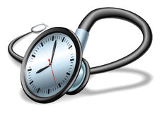 Conceito médico do estetoscópio do tempo Imagem de Stock Royalty Free
