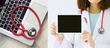 conceito médico e da tecnologia Estetoscópio e computador portátil imagem de stock