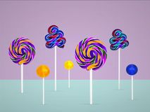 Conceito mínimo dos pirulitos coloridos Imagem de Stock Royalty Free