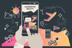 Conceito móvel aumentado do app do turismo da cidade da realidade ilustração do vetor
