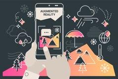 Conceito móvel aumentado do app do turismo da cidade da realidade ilustração royalty free