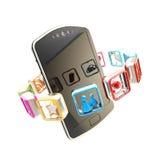Conceito móvel cercado por aplicações Foto de Stock Royalty Free