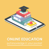 Conceito móvel da educação da tecnologia do livro do e-leitor da tabuleta Foto de Stock Royalty Free