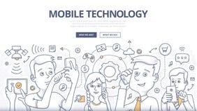 Conceito móvel da garatuja da tecnologia Fotos de Stock