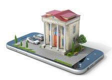 Conceito móvel da operação bancária Construção de banco na tela do telefone imagens de stock royalty free