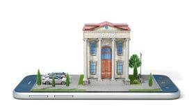 Conceito móvel da operação bancária Construção de banco na tela do telefone fotos de stock royalty free