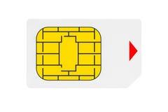 Conceito móvel da telecomunicação Opinião macro Sim Card Foto de Stock Royalty Free