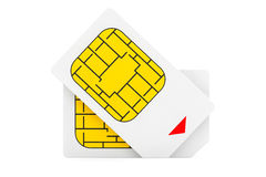 Conceito móvel da telecomunicação Opinião macro Sim Cards Imagem de Stock Royalty Free