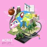 Conceito móvel da vida do app Foto de Stock Royalty Free