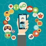 Conceito móvel das aplicações Fotos de Stock