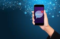 Conceito móvel do mensageiro, mensageiro móvel app para o messa texting imagens de stock