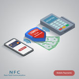 Conceito móvel do pagamento com um símbolo do crédito Imagens de Stock Royalty Free