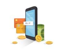 Conceito móvel em linha do pagamento Internet banking, carteira móvel telefone celular com cartão de crédito, dinheiro, e moedas Imagem de Stock Royalty Free
