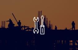 Conceito mecânico do serviço de engenharia do equipamento das ferramentas Fotografia de Stock Royalty Free