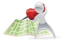 Conceito metálico do pino do mapa da mascote dos desenhos animados Imagem de Stock