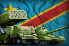Conceito militar pesado Democrática dos veículos blindados da República Democrática do Congo no fundo da bandeira nacional ilustr ilustração do vetor