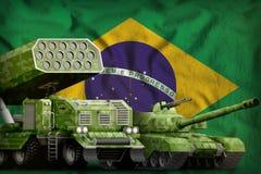 Conceito militar pesado dos veículos blindados de Brasil no fundo da bandeira nacional ilustração 3D ilustração stock
