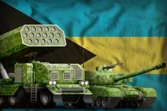Conceito militar pesado dos veículos blindados do Bahamas no fundo da bandeira nacional ilustração 3D ilustração stock