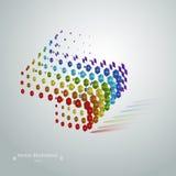 Conceito moderno cúbico geométrico abstrato do arco-íris do vetor do grunge em um fundo branco Fotografia de Stock Royalty Free