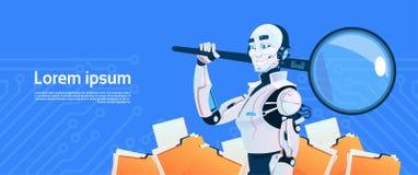 Conceito moderno da busca dos dados da lupa da posse do robô, tecnologia futurista do mecanismo da inteligência artificial ilustração royalty free