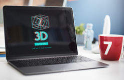 conceito moderno da exposição 3D futurista tridimensional Imagem de Stock Royalty Free